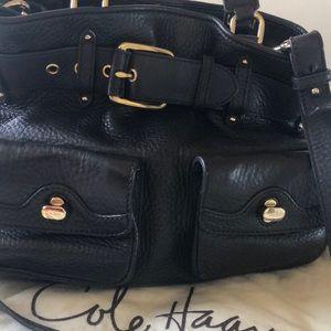 Brown pebbled leather convertible handbag